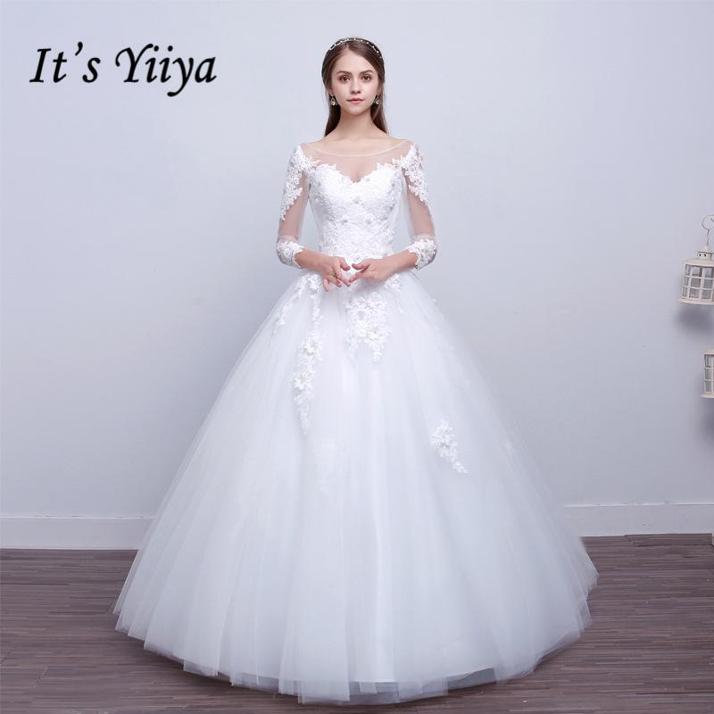 [해외]그것 & s Yiiya s 오프 화이트 3 분기 슬리브 O-neck 웨딩 드레스 꽃 패턴 아플리케 섹시한 착각 웨딩 Frock X070/It&s Yiiya s Off White Three Quarter Sleeve O-Neck Wedding Dresses