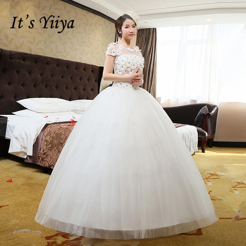 [해외]?Vestidos 드 Novia 리얼 포토 저렴한 O - neck 플러스 사이즈 웨딩 드레스 화이트 레이스 반팔 브라스 Frocks HS215/ Vestidos De Novia Real Photo Cheap O-neck Plus Size Wedding Dress