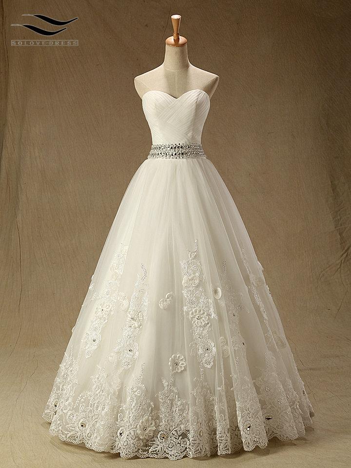 [해외]새 연인 레이스 층 길이 A 라인 웨딩 드레스 구슬 꽃 레이스 최대 신부 가운 사용자 정의 만든 실제 사진 (SL-RW002)/New Sweetheart Lace Floor-Length A-Line Wedding dress Beading Flowers Lace
