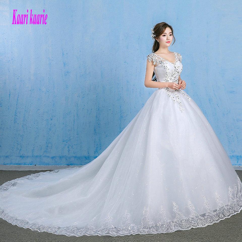 [해외]럭셔리 화이트 웨딩 드레스 2018 섹시 아이보리 웨딩 드레스 브이 - 넥 Tulle 아플리케 크리스탈 공식 브라이 덜 드레스 오랫동안 맞춤 제작/Luxury White Wedding Gowns 2018 Sexy Ivory Wedding Dresses V-Nec