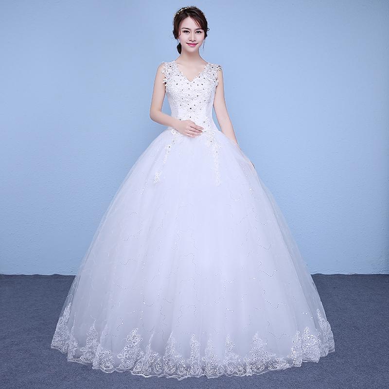 [해외]?장식 조각 레이스 V- 목 웨딩 드레스 저렴 한 바닥 길이 화이트 신부 가운 사용자 지정 만든 베스 티 드 드 Novia XN177/ Sequins Lace V-neck Wedding Dresses Cheap Floor Length White Bride Gow