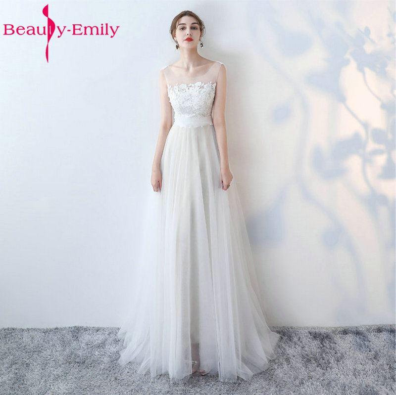 [해외]아름다움 - 에밀리 화이트 웨딩 드레스 2018 새로운 섹시 스쿠프 얇은 명주 그물 비치 브리프 드레스 긴 아이보리 웨딩 가운 맞춤 제작/Beauty-Emily White Wedding Dresses 2018 New Sexy Scoop Tulle Applique