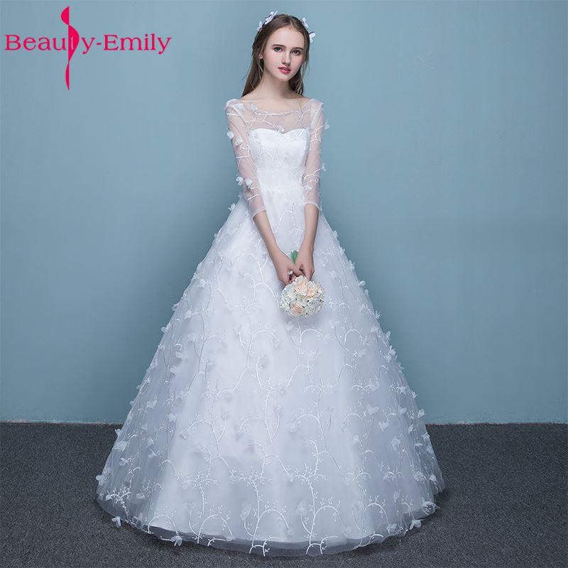[해외]아름다움 - 에밀리 순수한 흰색 신부 웨딩 드레스 2017 간단한 공주 라인 레이스 최대 3 쿼터 Tulle 신부 가운/Beauty-Emily Pure White Bride Wedding Dresses 2017 Simple Princess A-Line Lace