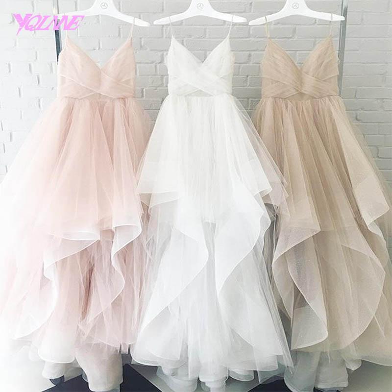 [해외]YQLNNE 로맨틱 화이트 높은 낮은 웨딩 드레스 2018 신부 드레스 스트랩 Tulle 지퍼 다시 바닥 길이 Vestido De Noiva/YQLNNE Romantic White High Low Wedding Dress 2018 Bridal Dresses St