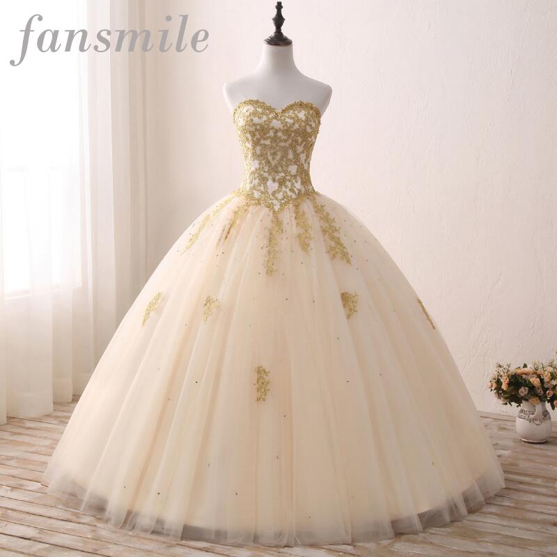 [해외]Fansmile 빈티지 골든 레이스 볼 웨딩 드레스 2017 실제 사진 로브 드 Mariee 플러스 사이즈 신부 가운 FSM - 343F 사용자 정의/Fansmile Vintage Golden Lace Up Ball Wedding Dresses 2017 Real