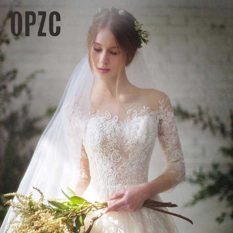 [해외]새로운 패션 단순한 2018 웨딩 드레스 레이스 3 분의 1 슬리브 O - 넥 우아한 플러스 크기 Vestido 드 Noiva 신부 Q/New Fashion Simple 2018 Wedding Dresses Lace Three Quarter Sleeve O-Ne
