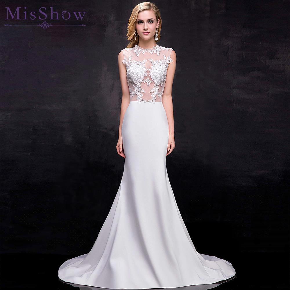 [해외]저렴한 인어 웨딩 드레스 전체 길이 오 넥 브라 가운 섹시 민Retail 2018 신부의 환상 다시 웨딩 드레스 스윕 열차/Cheap Mermaid Wedding Dress Full Length O Neck Bridal Gown Sexy Sleeveless 20
