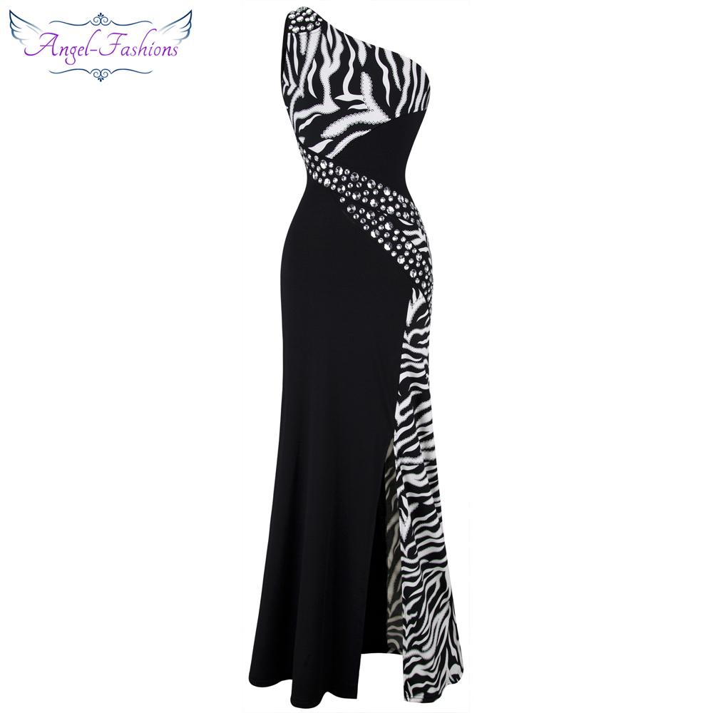 [해외]천사 - 패션 하나의 어깨 얼룩말 보석 스티치 이브닝 드레스 블랙 Ballkleid 072/Angel-fashions One Shoulder Zebra Gemstones Stitching Evening Dress Black Ballkleid 072