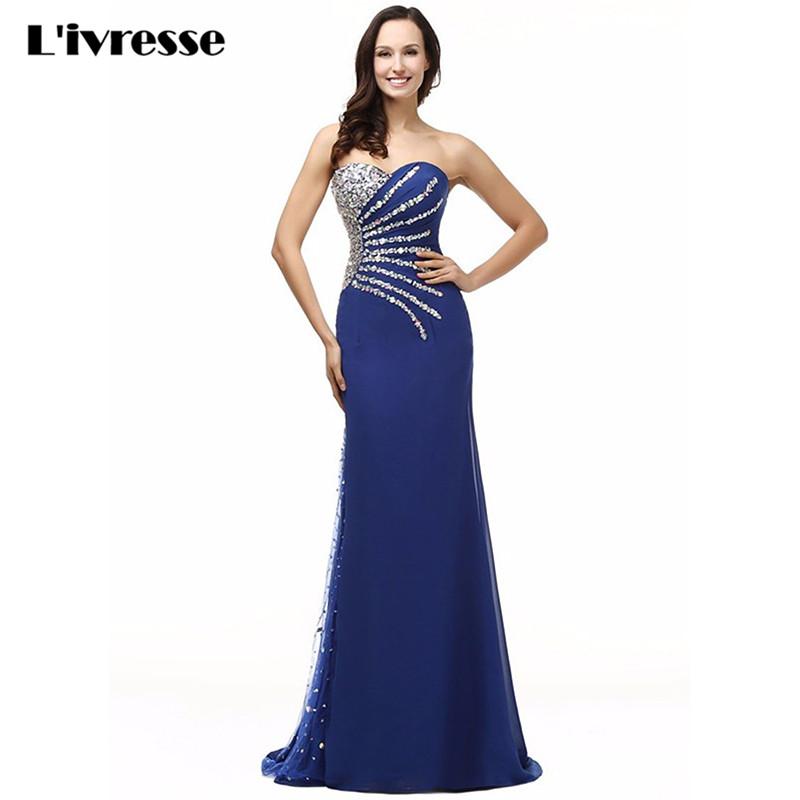 [해외]2017 재고 있음 Sweetheart 시퐁 크리스탈 로얄 블루 인어 이브닝 드레스 롱 베스 티도 데 페스타 세리아/2017 In Stocks Sweetheart Chiffon Crystal Royal Blue Mermaid Evening Dress Long V