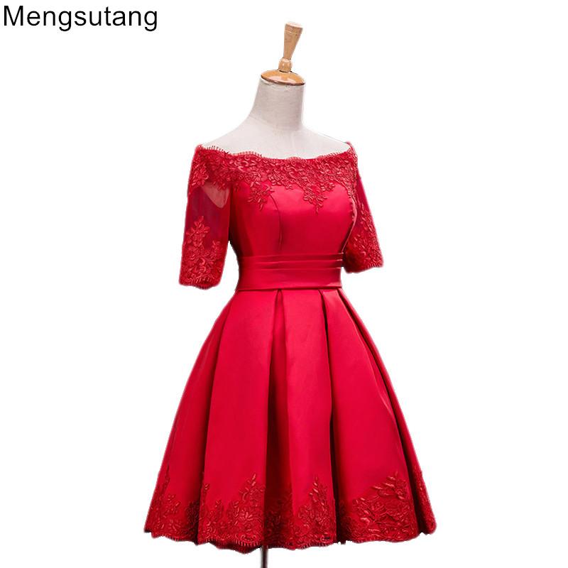 [해외]로브 드 Soiree 2018 레이스 업 연회 파티 이브닝 ??드레스 슬릿 짧은 슬림 레드 레이스 댄스 파티 드레스 파티 드레스 가운 3 색/Robe De Soiree 2018 lace up Banquet Party Evening Dress Slit Short