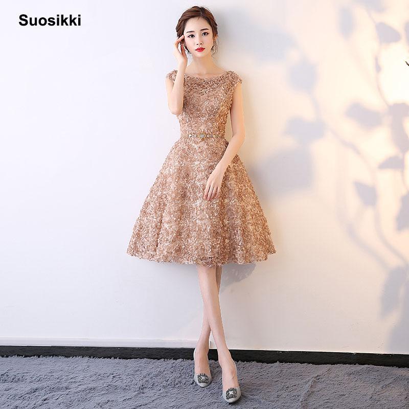 [해외]Suosikki 짧은 이브닝 드레스 2018 파티 패션 특종 목 진짜 사진 파티 드레스/Suosikki Short Evening Dresses 2018 For Party Fashion Scoop Neck Real Photo Prom Dress