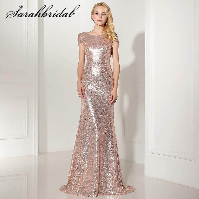 [해외]섹시한 백 레즈 로즈 골드 스팽글 이브닝 드레스 캡 Retail 인 어 롱 싸구려 파티 가운 베스 티도 데 페 스타 롱고 SD347/Sexy Backless Rose Gold Sequined Evening Dresses Cap Sleeves Mermaid Lon