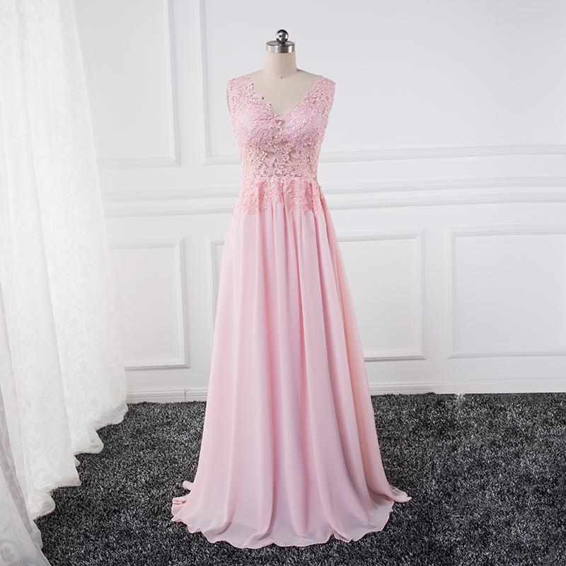 [해외]뷰티 - 에밀리 아플리케 레이스 A 라인 여성용 드레스 핑크 이브닝 드레스 2017 파티 파티 드레스 정장 드레스/Beauty-Emily Appliques Lace A-line vestido de noche Pink Evening Dresses 2017 Part
