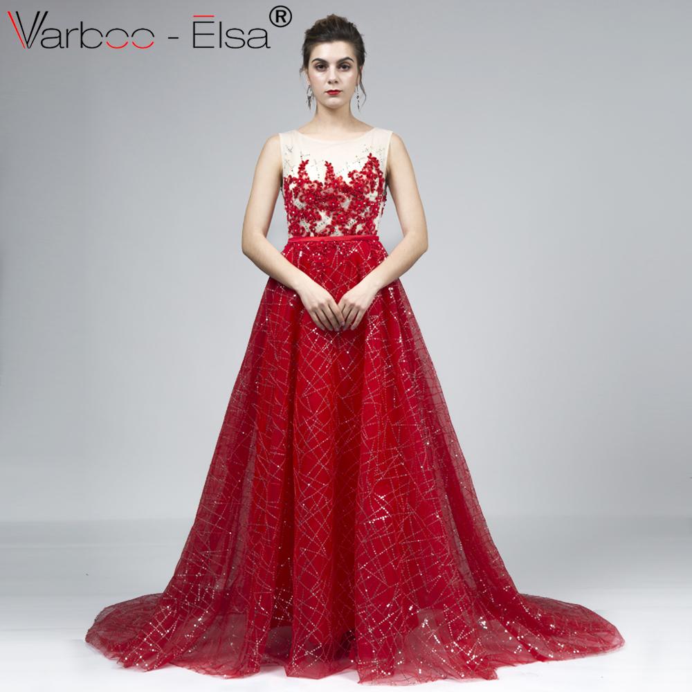 [해외]VARBOO_ELSA 레드 스팽글 아플리케 공식적인 드레스 비즈 크리스탈 고급 가운 가운 A 라인 길이의 이브닝 드레스/VARBOO_ELSA Red Sequined Appliques Formal Gown Beaded Crystal Luxury robe de so