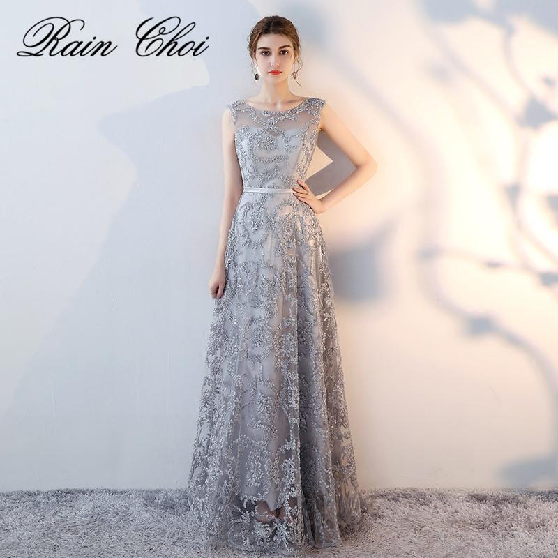 [해외]실버 긴 댄스 파티 드레스 2018 O 넥 깎아 지른 다시 자수 라인 파티 이브닝 ??가운 실제 사진/Silver Long Prom Dresses 2018 New Arrival O Neck Sheer Back Embroidery A Line Party Eveni