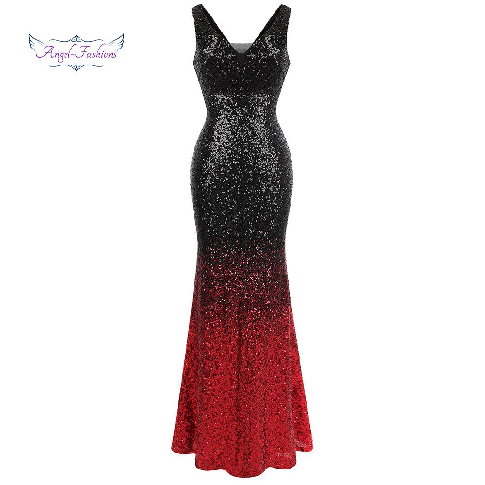 [해외]천사 - 패션 여성 & s의 그라디언트 이브닝 드레스 Sequin V 넥 인어 명암 색상 파티 가운 블랙 레드 382/Angel-fashions Women&s Gradient Evening Dresses Sequin V Neck Mermaid Contra