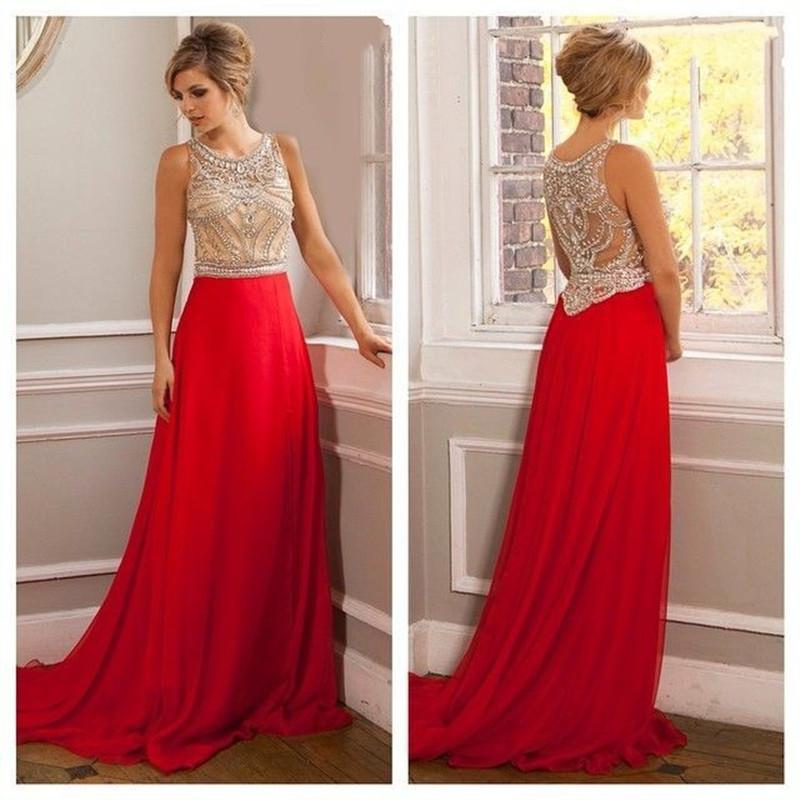 [해외]무거운 구슬 특종 목 바닥 길이 탱크 긴 빨간 파티 드레스 2016 스위프 기차 vestido 드 축제 쉬폰 저녁 파티 가운/Heavy beaded scoop neck floor length tank long red prom dresses 2016 sweep t