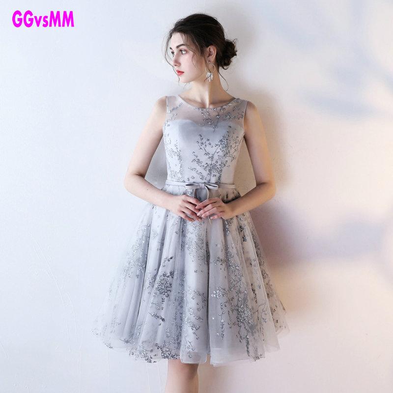 [해외]달콤한 칵테일 드레스 2018 새로운 신부 결혼 된 연회 vestido 사회적 실버 레이스 댄스 파티 드레스 짧은 정식 이브닝 파티 드레스/Sweet Cocktail Dresses 2018 New Bride Married Banquet vestido social