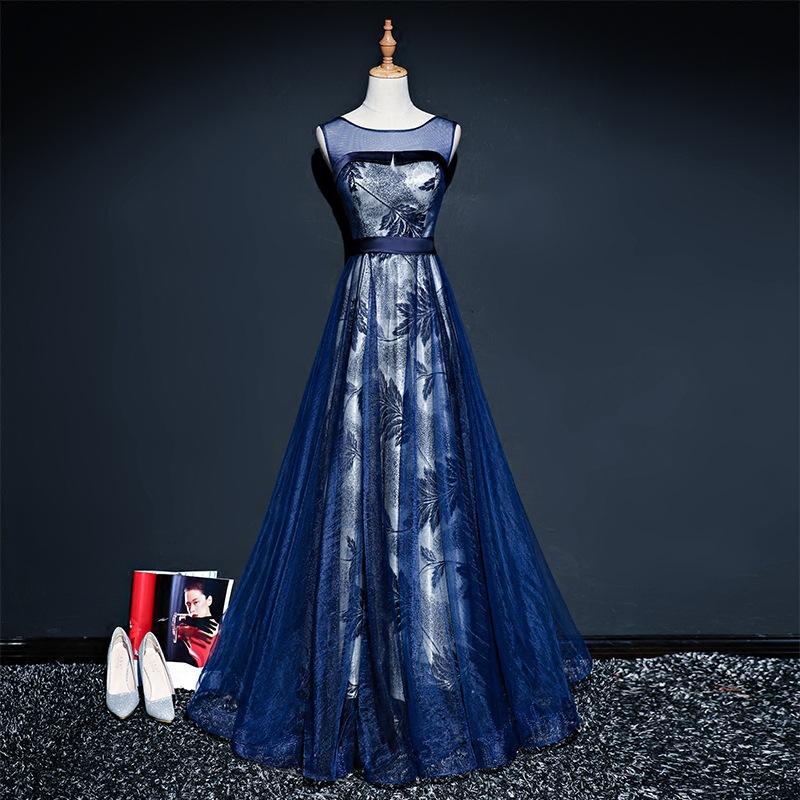 [해외]그것은 & YiiYa 네이비 블루 레드 인기 민Retail O - 넥 댄스 파티 드레스 간단한 꽃 패턴은 럭셔리 댄스 파티 드레스 품질 L044/It&s YiiYa Navy Blue Red Popular Sleeveless O-Neck Prom Gown