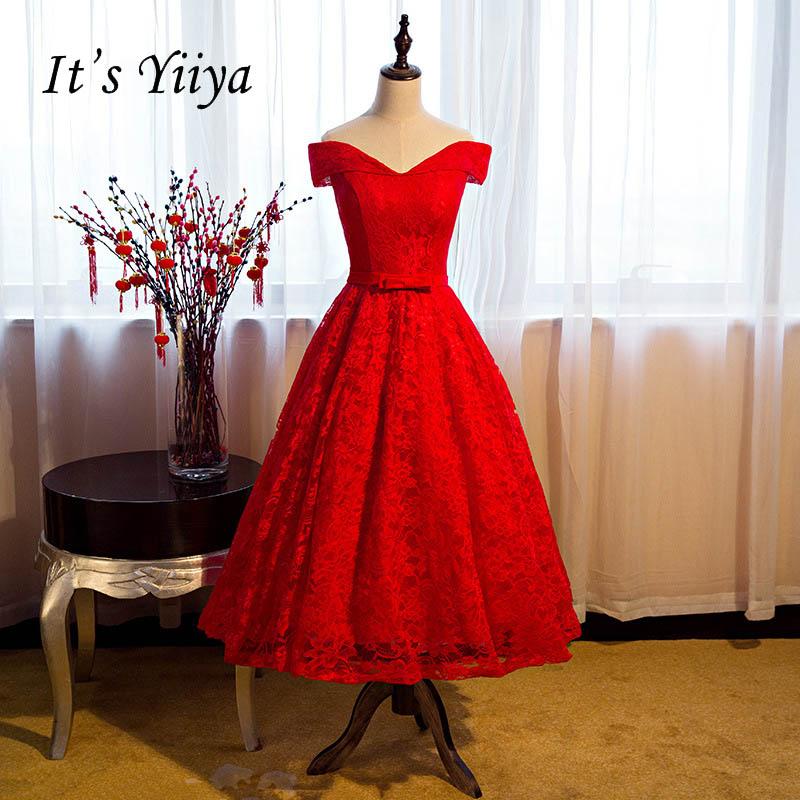 [해외]It & YiiYa Sweetheart Red 오프 숄더 A 라인 티 브라이트 드레스 심플 레이스 댄스 파티 드레스 파티 웨딩 게스트 드레스 X048/It&s YiiYa Sweetheart Red Off Shoulder A-line Tea Length B