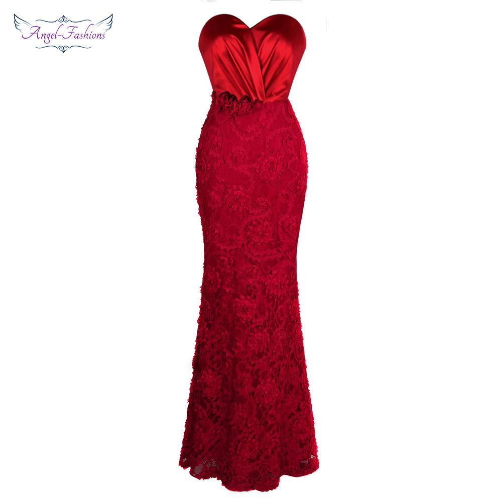 [해외]천사 - 패션 Long Prom Dress 아가씨 Pleat Flowers 레이스 인어 공식 Vestido de noche Red 383/Angel-fashions Long Prom Dresses Sweetheart Pleat Flowers Lace Mermai