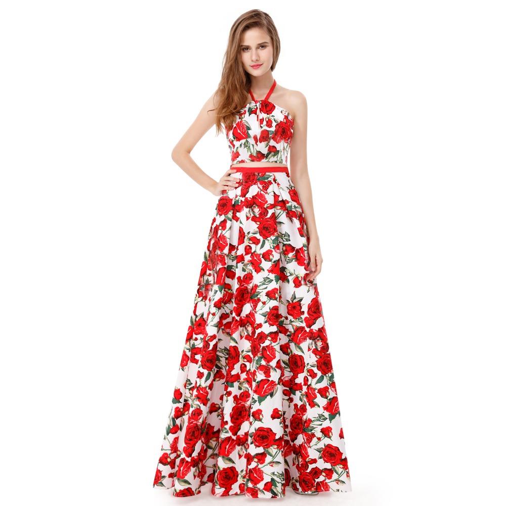 [해외]꽃 인쇄 두 조각 댄스 파티 드레스 2018 홀터없는 뒷마당 갈라 Jurken 이제까지 예쁜 EP08969WR 댄스 파티 라인 파티 사티 파티 드레스/Floral Print Two Piece Prom Dress 2018 Halter Backless Gala Ju