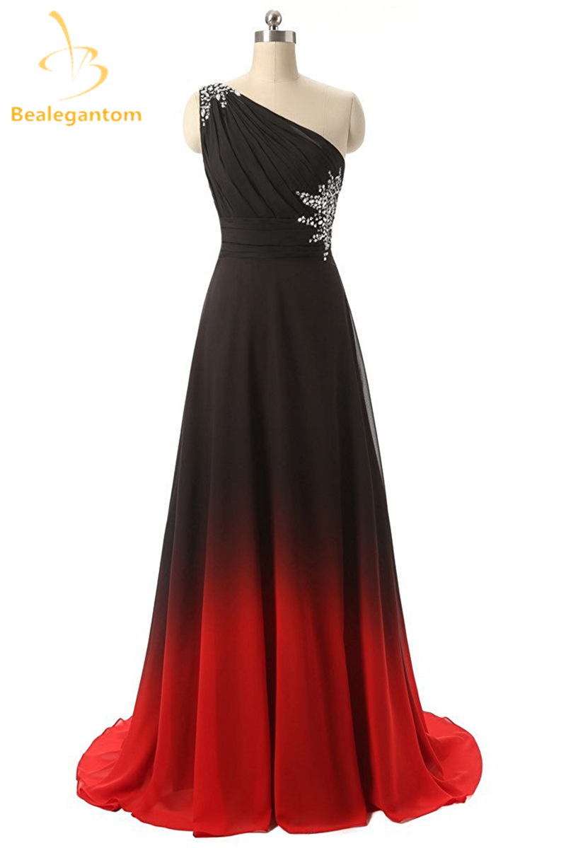 [해외]Bealegantom One Shoulder Black Red 옴브 댄스 파티 드레스 2017 쉬폰 플러스 사이즈 야간 파티 드레스 Vestido Longo QA1078/Bealegantom One Shoulder Black Red Ombre Prom Dress