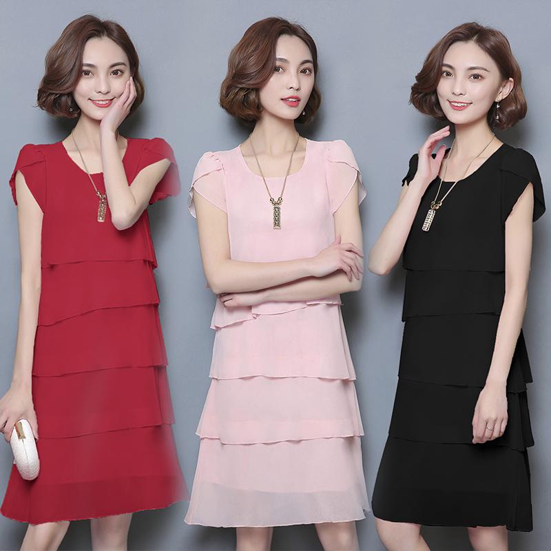 [해외]새로운 2017 여름 여성 쉬폰 루스 드레스 블랙 솔리드 레드 칵테일 튜닉 파티 숙녀 우아한 프릴 Vestidos 플러스 사이즈 5XL Q/New 2017 Summer Women Chiffon Loose Dresses Black Solid Red Cocktail