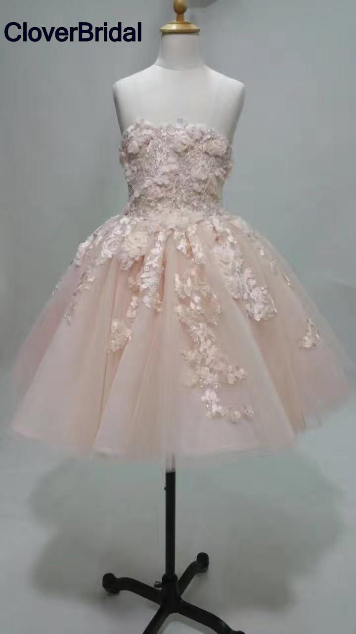 [해외]낭만주의 젊은 짧은 주니어 핑크 organza 레이스 칵테일 드레스 2017 무릎 길이 아름다운 레이스 appliques/Romantic young short juniors pink organza lace cocktail dresses 2017 knee leng