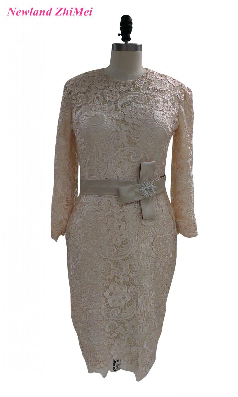 [해외]우아한 무릎 길이 칵테일 드레스 2017 매력적인 여자 긴 Retail 레이스 여자 DressBow 결혼식/Elegant Knee Length Cocktail Dresses 2017 Charming Woman Long Sleeves Lace Woman Dress