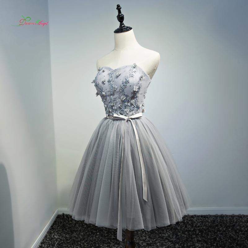 [해외]꿈의 천사의 꽃 Strapless 무릎 길이 칵테일 드레스 2017 빈티지 자수 특별 행사 드레스 파티에 짧은 드레스/Dream Angel Flowers Strapless Knee Length Cocktail Dresses 2017 Vintage Embroide