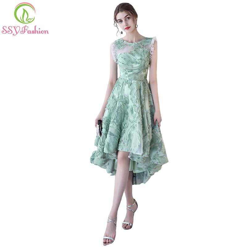 [해외]SSYFashion 여름 새로운 신선한 녹색 짧은 칵테일 복장 연회 높거나 낮은 쇼트 전면 긴 다시 레이스 파티 가운 공식적인 드레스/SSYFashion Summer New Fresh Green Short Cocktail Dress Banquet High/low