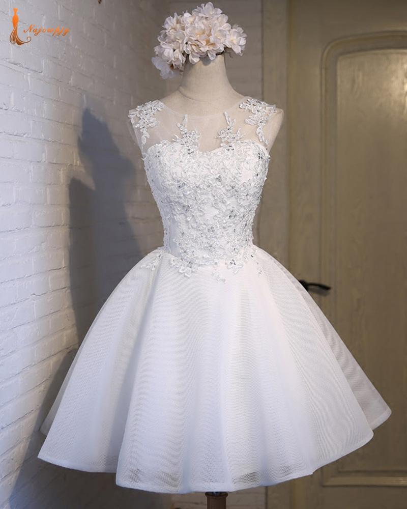 [해외]Najowpjg 위의 새로운 디자인 무릎 미니 리틀 화이트 드레스 2017 레이스 업 크리스탈 칵테일 파티 가운 Vestidos De Coctel/Najowpjg New Design Above Knee Mini Little White Dresses 2017 La