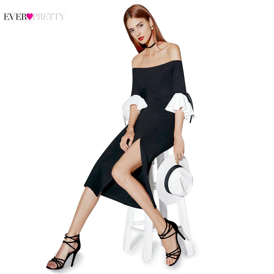 [해외]칵테일 드레스 숄더 대비 컬러 프릴 슬리브 28850PEC 분리 예쁜 스타일 2017 새로운 패션 여성/Cocktail Dresses Ever Pretty 2017 New Fashion Women Off Shoulder Contrast Color Ruffle S