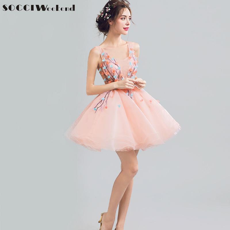 [해외]SOCCI 주말 섹시한 V 넥 핑크 칵테일 드레스 짧은 무릎 위로 공식적인 웨딩 파티 드레스 Organza 볼 가운 가운 데 칵테일/SOCCI Weekend Sexy V Neck Pink Cocktail Dresses Short Above Knee Formal