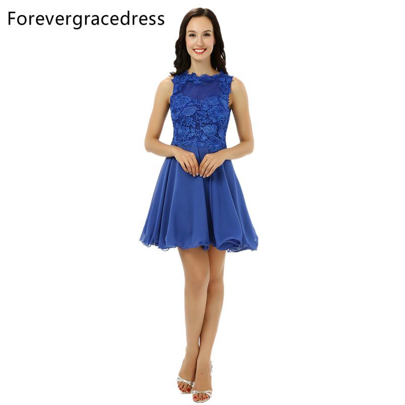 [해외]Forevergracedress 2017 라인 블루 칵테일 드레스 새로운 아플리케 민Retail 짧은 저녁 파티 가운 플러스 크기 맞춤 제작/Forevergracedress 2017 A Line Blue Cocktail Dress New Applique Slee