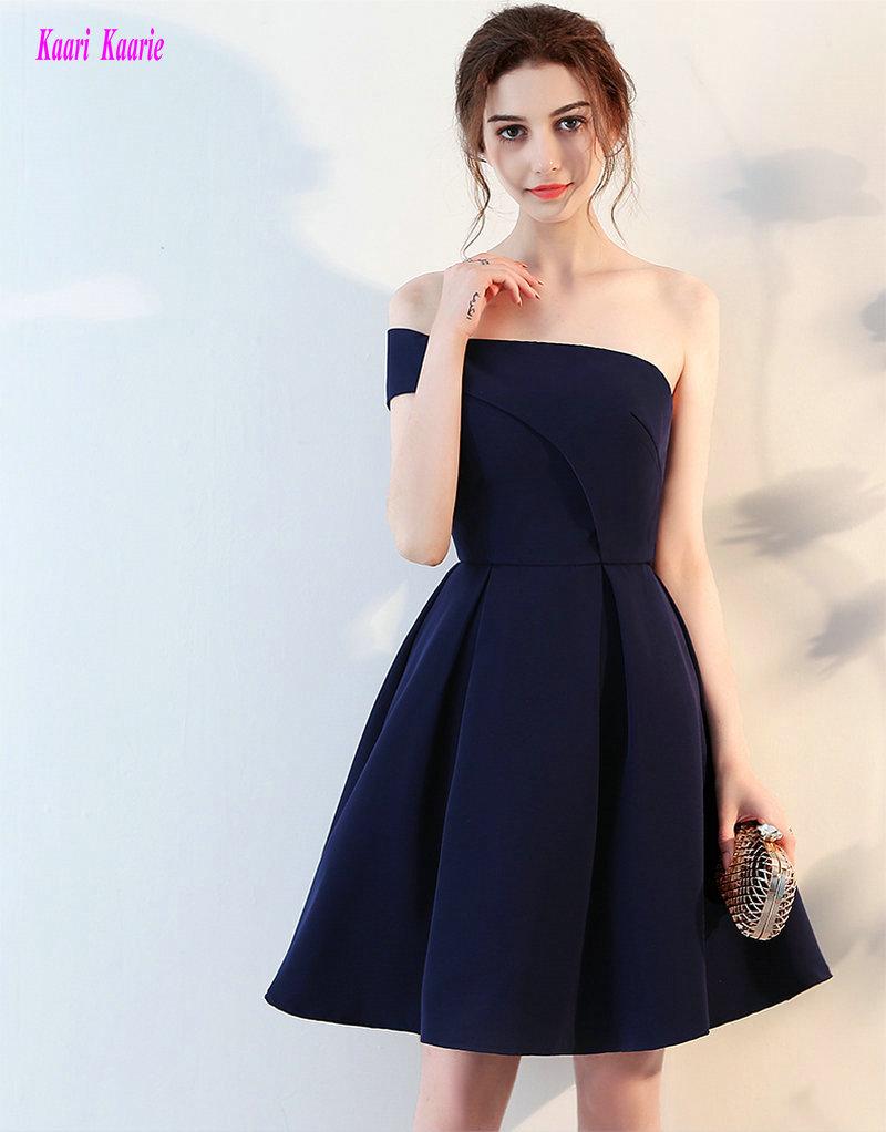 [해외]Junoesque 다크 해군 칵테일 드레스 2018 새로운 섹시 한 어깨 새틴 라인 무릎 Lingth 졸업 드레스 짧은 파티 파티 가운/Junoesque Dark Navy Cocktail Dresses 2018 New Sexy One-Shoulder Satin