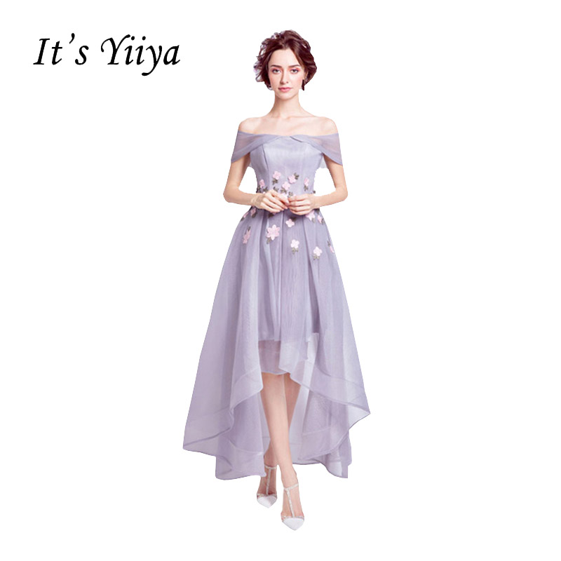 [해외]그것 & s Yiiya 2017 새로운 빛 자주색 보트 목 형식 복장 꽃 무늬 챠밍 양질 칵테일 드레스 QXN015/It&s Yiiya 2017 New Light Purple Boat Neck Formal Dress Appliques Flower Patt