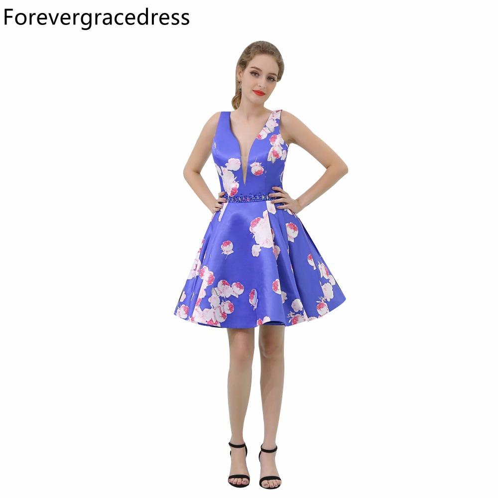 [해외]Forevergracedress 실제 그림 꽃 인쇄 칵테일 복장 딥 V 목 무릎 길이 짧은 동창회 파티 가운 플러스 크기/Forevergracedress Real Pictures Floral Print Cocktail Dress Deep V Neck Knee L