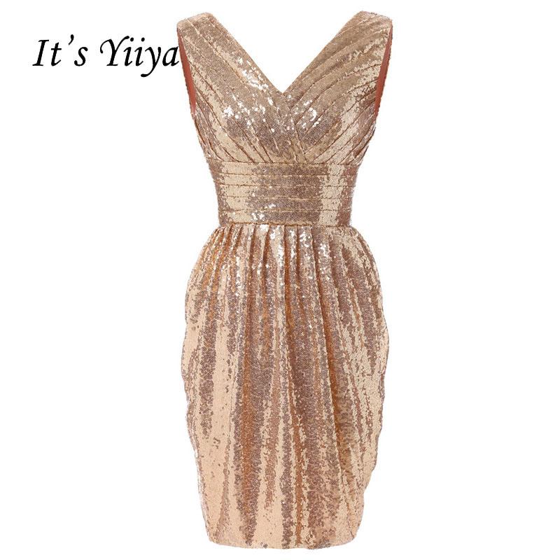 [해외]그것은 & YiiYa 골드 플리츠 꽃 Sequined 블링 민Retail 지퍼 스트레이트 칵테일 드레스 무릎 길이 공식 드레스 파티 가운 3102/It&s YiiYa Gold Pleat Flowers Sequined Bling Sleeveless Zipp