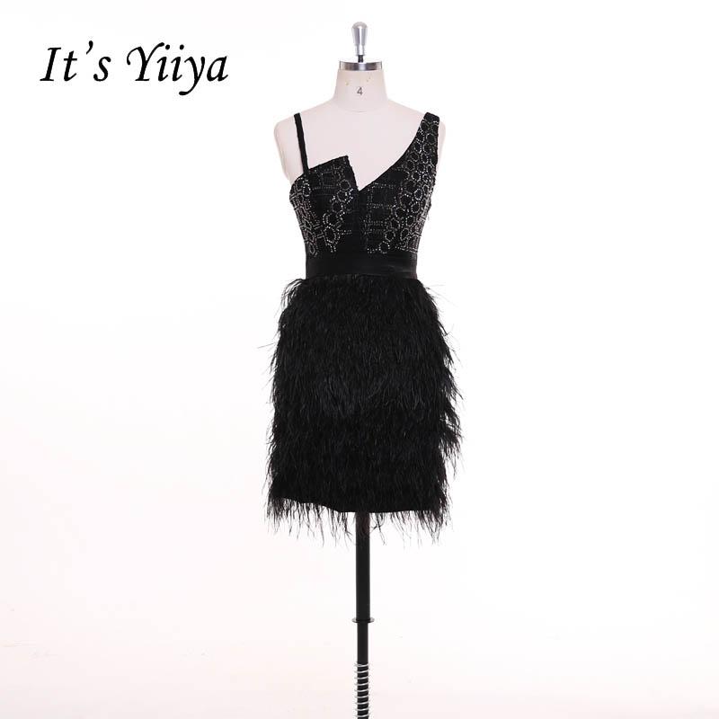 [해외]그것은 & YiiYa 작은 검은 드레스 구슬 장식 섹시한 깃털 Backless 지퍼 칵테일 드레스 짧은 얼룩 파티 드레스 맞춤 제작 F019/It&s YiiYa Little Black Dress Beading Sexy Feathers Backless Zi