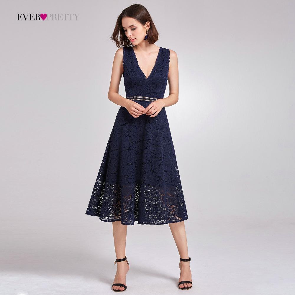 [해외]레이스 칵테일 드레스 적 꽤 AS05919 우아한 V - 목 높은 허리 티 길이 여성을유행 저렴한 파티 드레스/Lace Cocktail Dresses Ever Pretty AS05919 Elegant V-neck High Waist Tea Length Fashi
