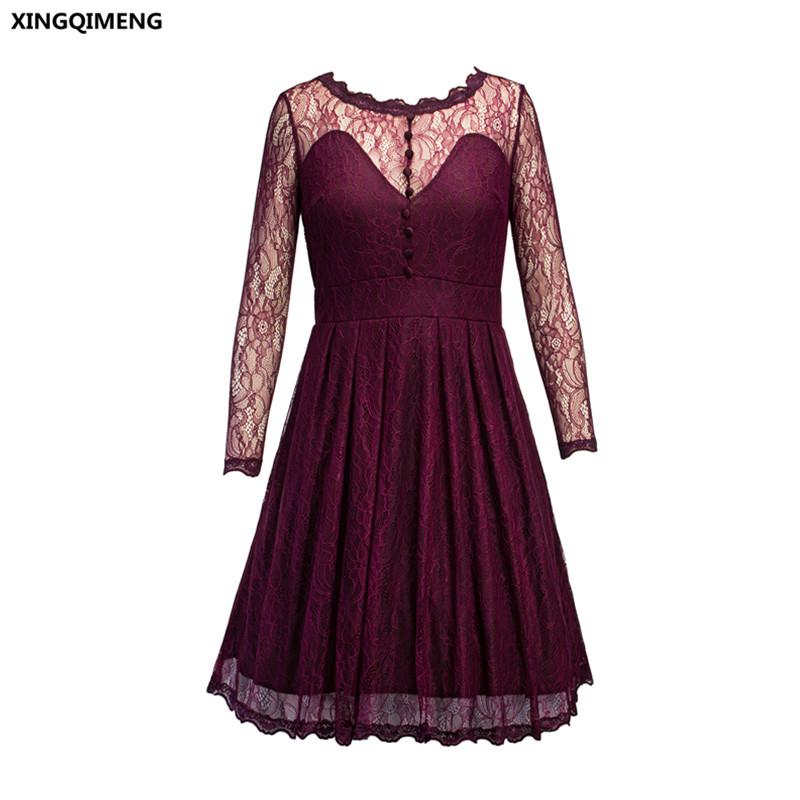 [해외]재고 있음 부르고뉴 레이스 칵테일 드레스 우아한 짧은 공식 드레스 롱 슬리브 싸게 간단한 여자 여자 숏 파티 드레스/In Stock Burgundy Lace Cocktail Dresses Elegant Short Formal Dresses Long Sleeve