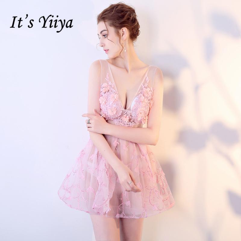 [해외]그것은 & YiiYa 2018 V- 목 민Retail 칵테일 드레스 무릎 등받이 꽃 레이스 정장 드레스 파티 가운 BX007/It&s YiiYa 2018 V- Neck Sleeveless Cocktail Dresses Knee-Length Backless