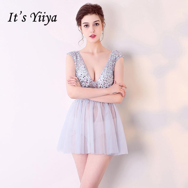[해외]그것은 & YiiYa 2018 V- 목에 짧은 Retail 칵테일 드레스 무릎 길이 수동 다이아몬드 안장 정장 드레스 파티 드레스 BX004/It&s YiiYa 2018 V- Neck Short Sleeves Cocktail Dresses Knee-Len