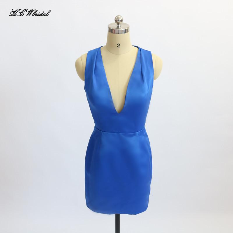 [해외]섹시한 파란색 짧은 칵테일 드레스 2018 딥 브이 넥 캡 슬리브 미니 외투 댄스 파티 가운 저렴한 여성 파티 가운 가운 드 Soiree/Sexy Blue Short Cocktail Dresses 2018 Deep V Neck Cap Sleeve Mini She