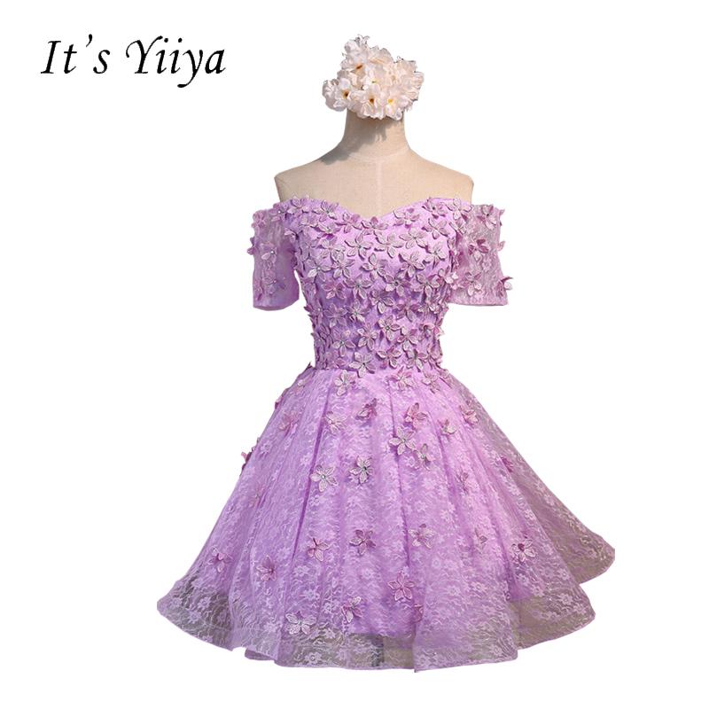 [해외]그것 & s YiiYa 보라색 핑크 보트 목 반팔 꽃 A 라인 칵테일 드레스 무릎 레이스 간단한 형식 드레스 BF002에 대 한/It&s YiiYa Purple Pink Boat Neck Short Sleeves Flowers A-line Cocktail
