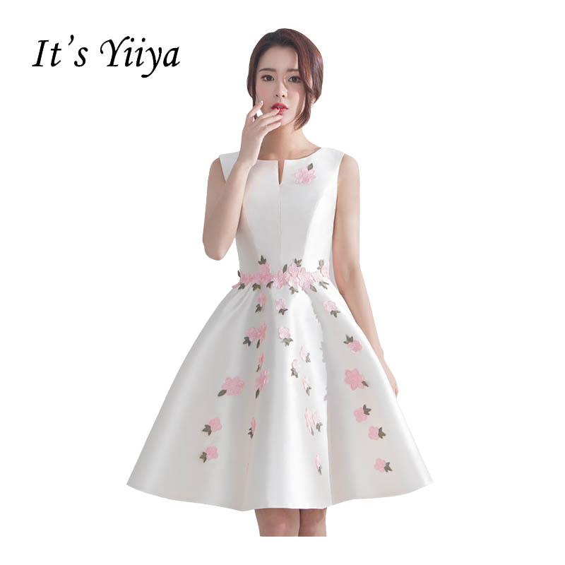 [해외]?그것은 & Yiiya O를 목 민Retail 자수 볼 가운 Taffeta 칵테일 드레스 무릎 길이의 꽃 공주 파티 정장 드레스 X251/ It&s Yiiya O-neck Sleeveless Embroidery Ball Gowns Taffeta Cockt
