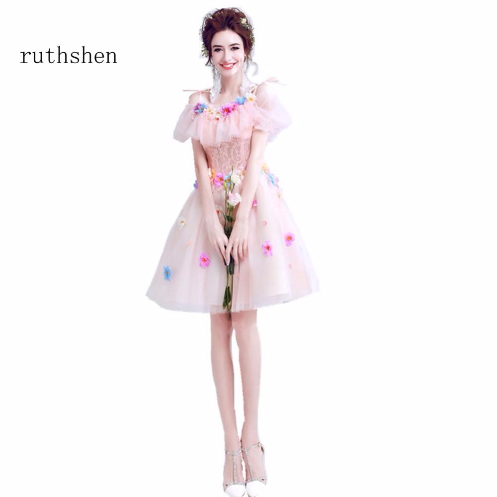 [해외]ruthshen 패션 저렴한 짧은 길이 무릎 길이 칵테일 드레스 레이스 Appliques 라이트 핑크 Vestidos Coctel 2018 특별 파티 드레스/ruthshen Fashion Cheap Short Knee Length Cocktail Dresses