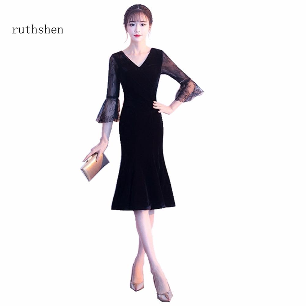 [해외]ruthshen 멋진 짧은 칵테일 드레스 검은 긴 Retail 정 무릎 무릎 길이 레이스 인어 칵테일 파티 드레스 Vestidos/ruthshen Stunning Short Cocktail Dresses Black Long Sleeves Formal Prom K